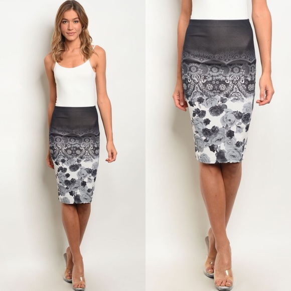 f551c24de9 The O Boutique Skirts | Clearance Black Gray White Floral Midi Skirt ...